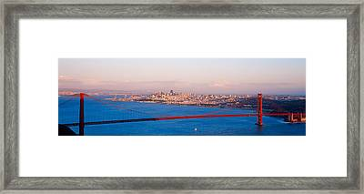Suspension Bridge Across The Bay Framed Print
