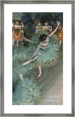 Swaying Dancer  Dancer In Green Framed Print by Edgar Degas