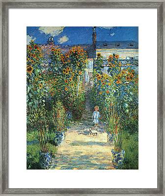 The Artist's Garden At Vetheuil Framed Print by Claude Monet