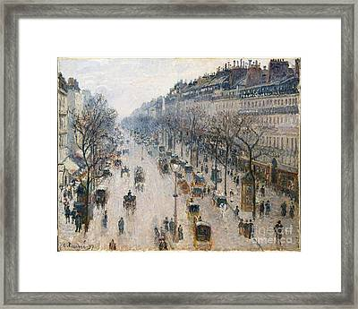 The Boulevard Montmartre On A Winter Morning Framed Print