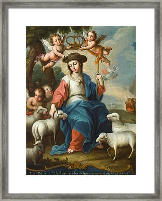 The Divine Shepherdess Framed Print by Miguel Cabrera