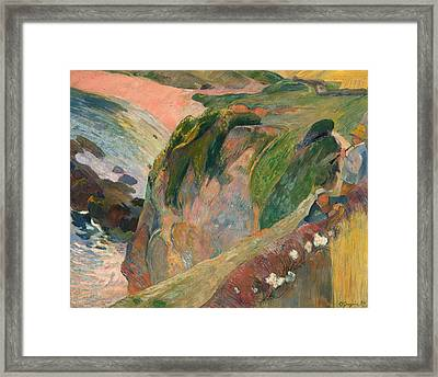 The Flageolet Player On The Cliff Framed Print by Paul Gauguin