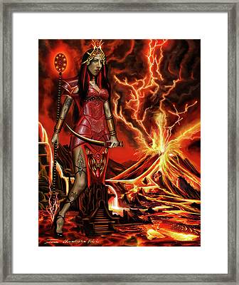 Framed Print featuring the painting The Goodess Pele Of Hawaii by James Christopher Hill