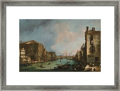 The Grand Canal In Venice With The Palazzo Corner Ca'grande Framed Print by Canaletto