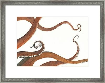 The Great White Shark And The Octopus Framed Print