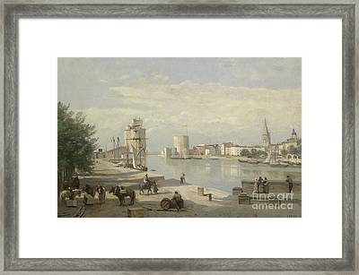 The Harbor Of La Rochelle Framed Print by Jean Baptiste Camille Corot