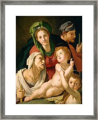 The Holy Family Framed Print by Bronzino