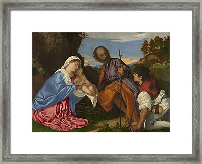 The Holy Family With A Shepherd Framed Print
