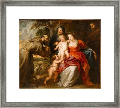 The Holy Family With Saints Francis And Anne And The Infant Saint John The Baptist Framed Print by Peter Paul Rubens