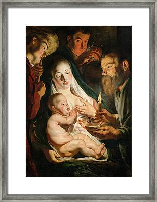 The Holy Family With Shepherds Framed Print