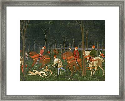 The Hunt In The Forest Framed Print by Paolo Uccello