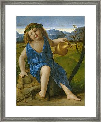 The Infant Bacchus Framed Print by Giovanni Bellini