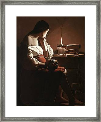 The Magdalen With The Smoking Flame Framed Print by Georges de la Tour