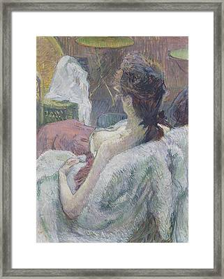 The Model Resting Framed Print by Henri de Toulouse-Lautrec