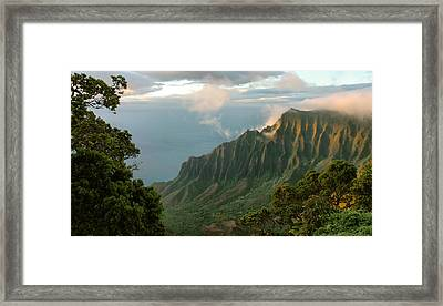Framed Print featuring the photograph Napali Coast Sunset by Stephen  Vecchiotti