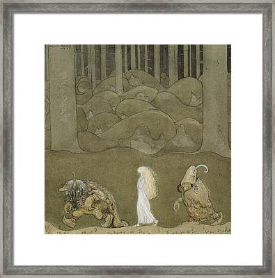 The Princess And The Trolls Framed Print by John Bauer