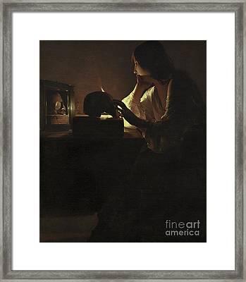 The Repentant Magdalen Framed Print by Georges de la Tour