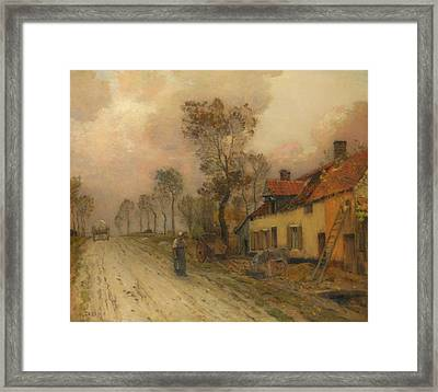 Framed Print featuring the painting The Route Nationale At Samer by Jean-Charles Cazin