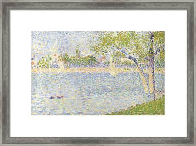 The Seine Seen From La Grande Jatte Framed Print by Georges Seurat