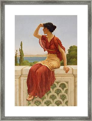The Signal Framed Print by John William Godward