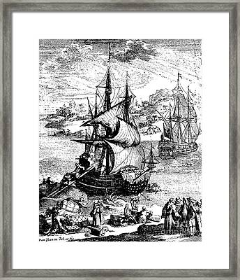 The Stranding Of The Aimable, Matagorda Bay, Texas, 1685 Framed Print by French School