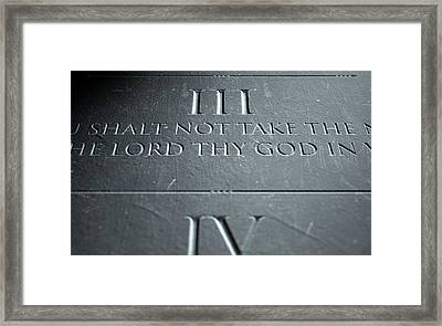 The Third Commandment Framed Print by Allan Swart