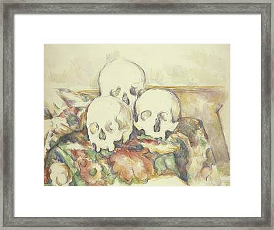 The Three Skulls Framed Print by Paul Cezanne