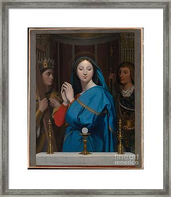 The Virgin Adoring The Host Framed Print by Celestial Images