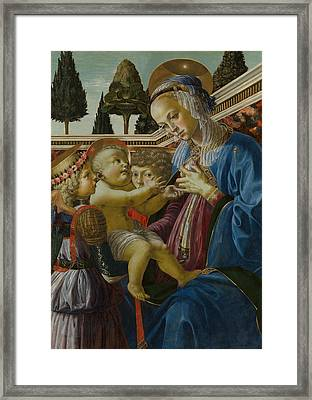 The Virgin And Child With Two Angels Framed Print by Andrea del Verrocchio