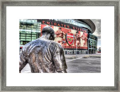Thierry Henry Statue Emirates Stadium Framed Print by David Pyatt