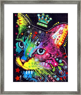 Thinking Cat Crowned Framed Print by Dean Russo