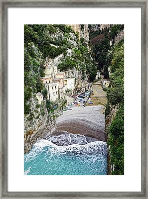 This Is A View Of Furore A Small Village Located On The Amalfi Coast In Italy  Framed Print