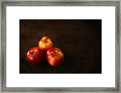 Three Apples Framed Print by Donald  Erickson