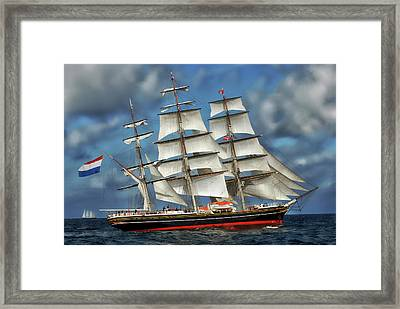 Three Mast Schooner Framed Print by Anthony Dezenzio