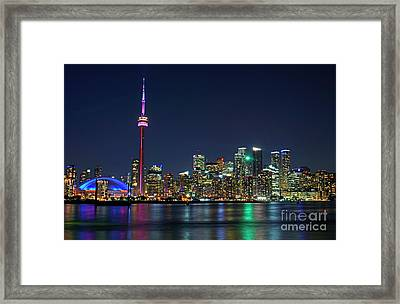 Toronto Night Skyline Framed Print