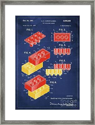 Toy Building Brick Patent Year 1958 Blueprint Framed Print
