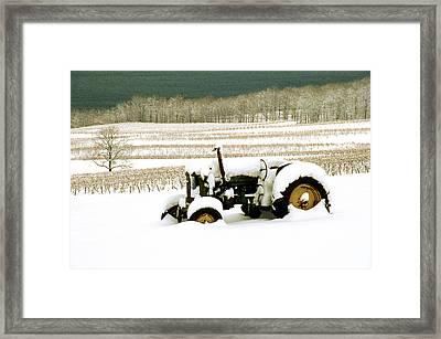 Tractor In Snowy Vineyard Framed Print