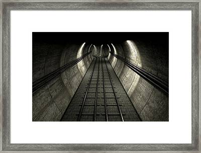 Train Tracks And Tunnel Framed Print