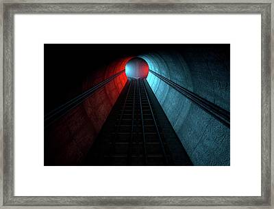 Train Tracks And Tunnel Split Choices Framed Print by Allan Swart