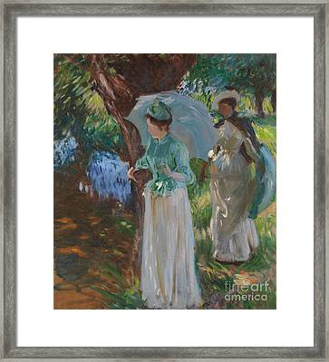 Two Girls With Parasols Framed Print by John Singer Sargent