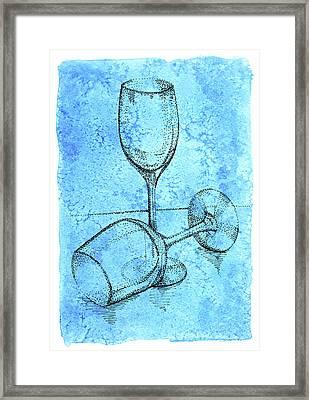 Two Hand Dot Drawn Transparent Wine  Glasses Framed Print by Victoria Yurkova