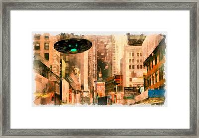 Ufo In The City Framed Print by Esoterica Art Agency