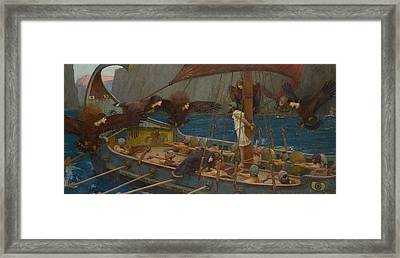 Ulysses And The Sirens Framed Print by John William Waterhouse