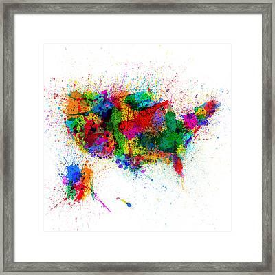 United States Paint Splashes Map Framed Print