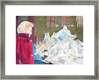 Framed Print featuring the drawing Unwrap by Yoshiko Mishina