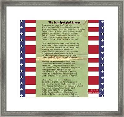 Us National Anthem - The Star-spangled Banner  Framed Print by Celestial Images