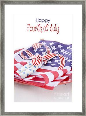 Usa Party Table Place Setting With Flag On White Wood Table.  Framed Print by Milleflore Images