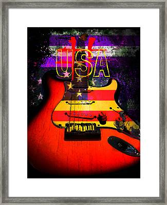 Framed Print featuring the photograph Red Usa Flag Guitar  by Guitar Wacky
