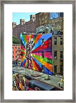 V - J Day Mural By Eduardo Kobra Framed Print by Allen Beatty
