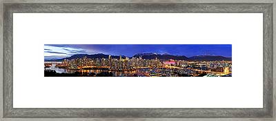 Vancouver Skyline Panorama Framed Print by Wesley Allen Shaw